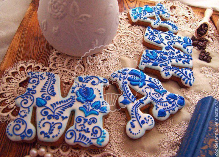 Купить Пряники 8 марта Маме Гжель - синий, гжель, пряники гжель, имбирные пряники