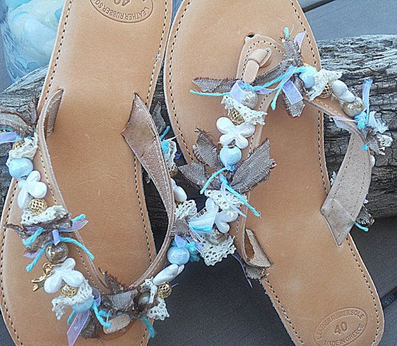 Handmade leather sandals with ceramic beads by IsminisJewelryStore, €45.00