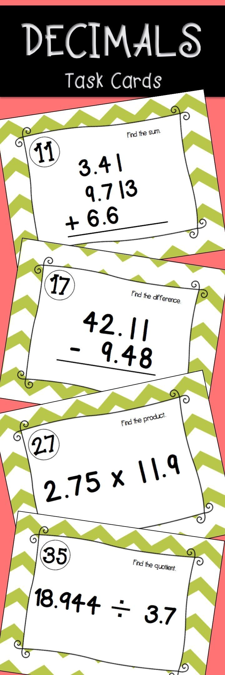 Decimal Task Cards activity. Adding decimals, subtracting decimals, multiplying and dividing decimals.