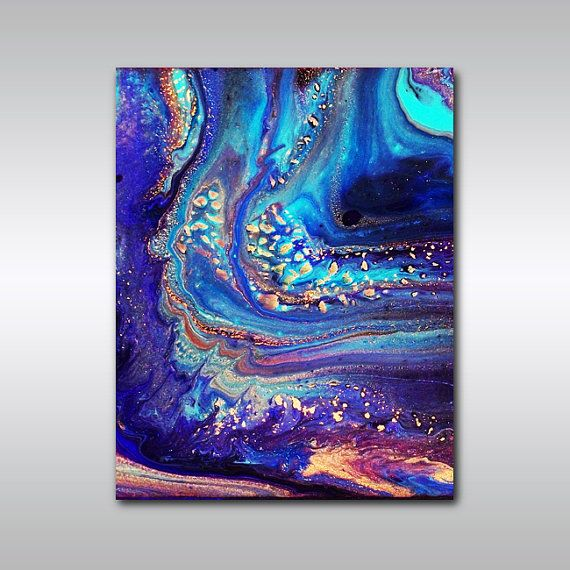 Art Print: 11 x 14 Abstract Art - Ultramarine Blue and Purple Wall Decor