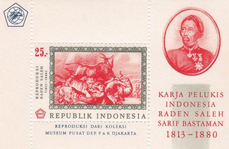 "SS Karya Pelukis Raden Saleh 1967   - Forest Fire and fleeing Animals"" by Raden Saleh, Year: 1811 - 1880.-"