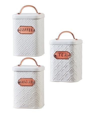 Look what I found on #zulily! Ventana Metal Canister Set #zulilyfinds