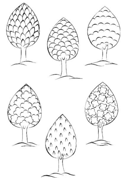 Cahide Keskiner, Minyatür Sanatında Doğa Çizim ve Boyama Teknikleri Belirli formlardaki ağaçlar ve bunların üst detayları