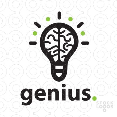 logo design that combines a stylized brain inside a lightbulb design