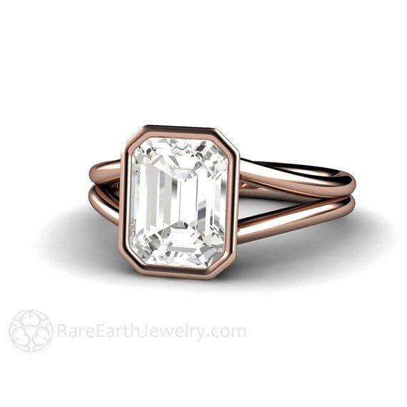 White Sapphire Ring White Sapphire Engagement Ring Bezel Split Shank Solitaire 14K or 18K Gold Wedding Ring