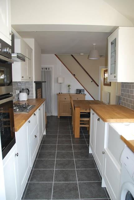 #burford white howdens kitchen. Lovely tiles