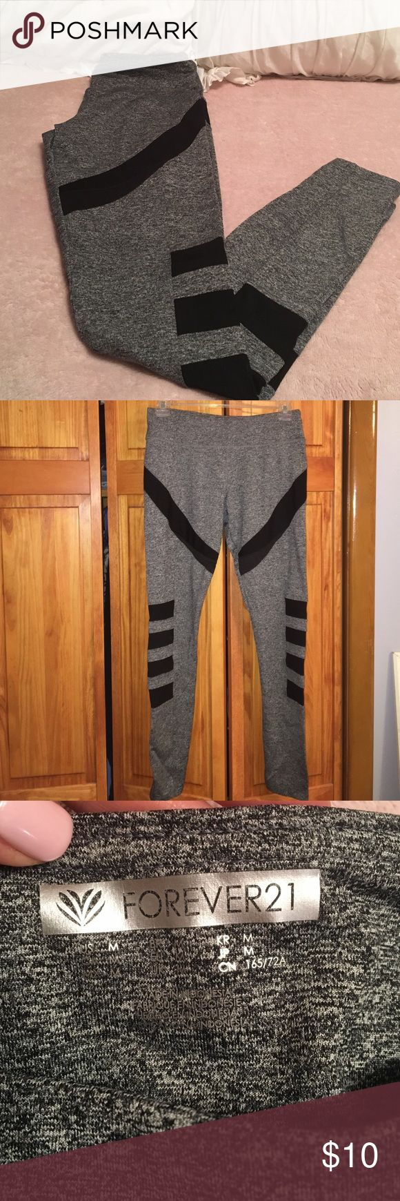 F21 Workout Pants *w/ courtesy Champion sports bra Gray workout pants with black mesh (see-through) cutouts; great condition- never worn.        **** will include courtesy Champion sports bra (black with gray straps); never worn. Forever 21 Pants Track Pants & Joggers