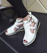 Tamaño grande 34-43 Mujeres de La Vendimia Zapatos 2016 Cuñas Med Talón del Gladiador T correas Zapatos de Verano Abierto Toe Plataforma sandalias(China (Mainland))