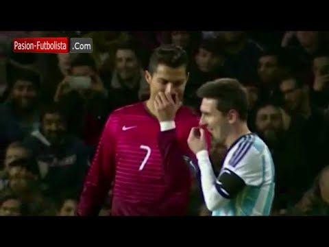 Cristiano Ronaldo bromea con Leo Messi durante el Amistoso - Argentina vs Portugal │ 2014 - YouTube