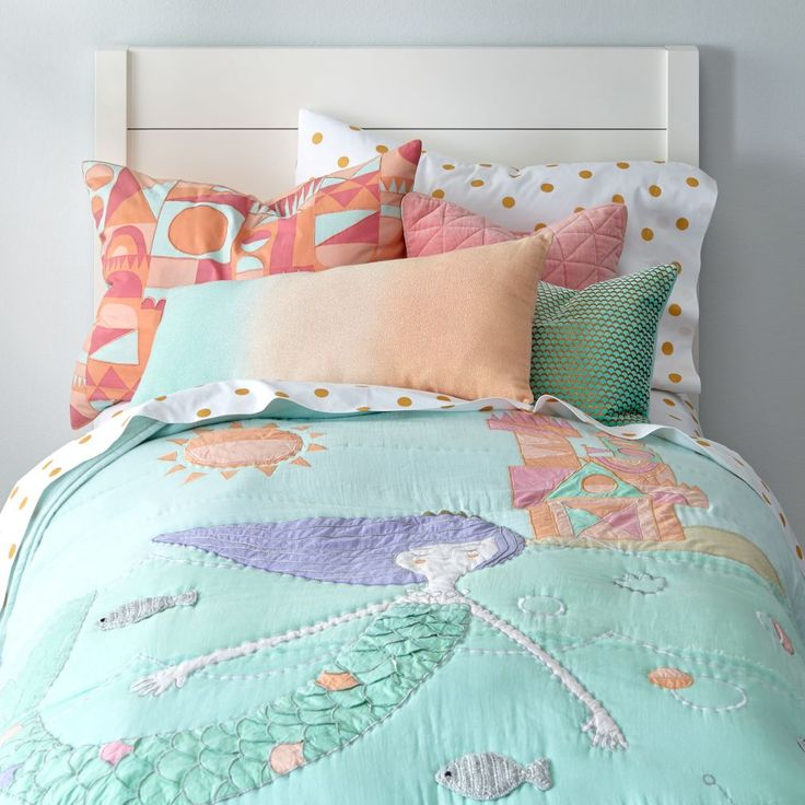 Shop Mermaid Kids Bedding.  Our Mermaid Mixer Kids Bedding features an appliqued and embroidered mermaid, perfect for your kids' room.  Shop kids bedding today.