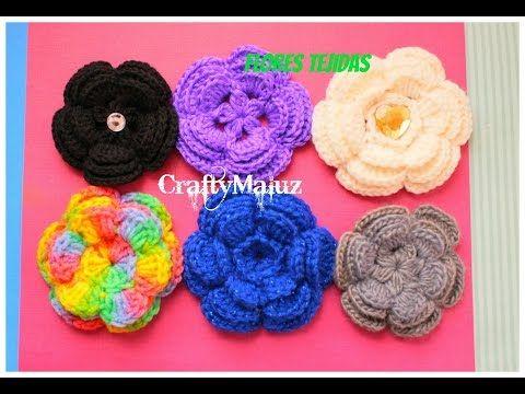 Aprende a tejer esta flor con petalos a ganchillo o crochet - YouTube