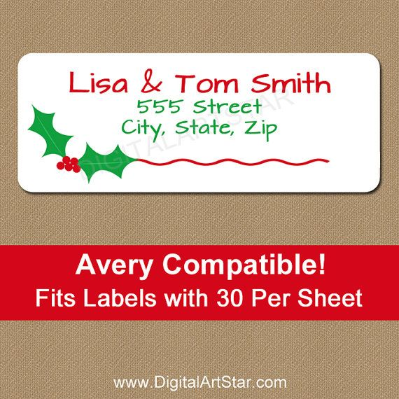 Beautiful holly return address labels for Christmas