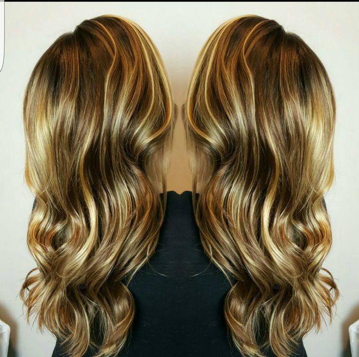 Reverse Balayage. rich brown and golden locks.