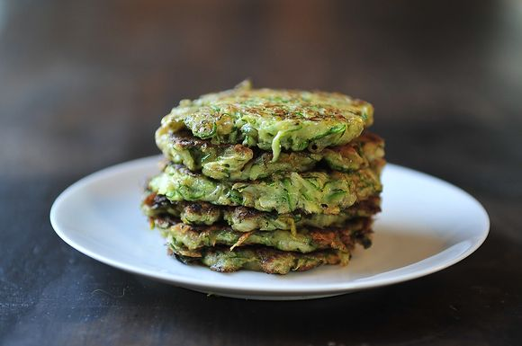 ZUCCHINI PANCAKES: (I have used a recipe with flour & no potato. Served with butter and grated parmesan). YUM