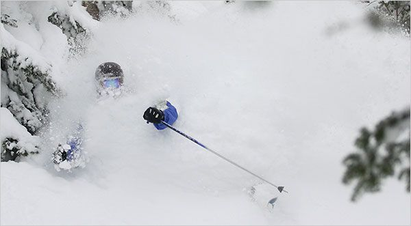 We are lovin the fresh snow here in Vermont's Northeast Kingdom.  This shot features a very happy skier enjoying a powder day at Jay Peak Resort.