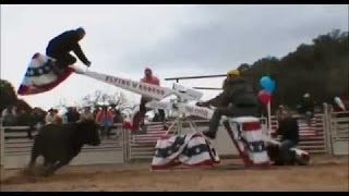bull riding on teeter totter - YouTube