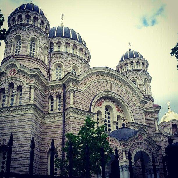 Rīgas Kristus Piedzimšanas pareizticīgo katedrāle  (The Nativity of Christ Cathedral ) in Rīga