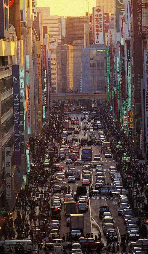 The Main Street of Ginza, Chuo Dori ~ Ginza is Tokyo's most famous upmarket shopping, dining & entertainment district.