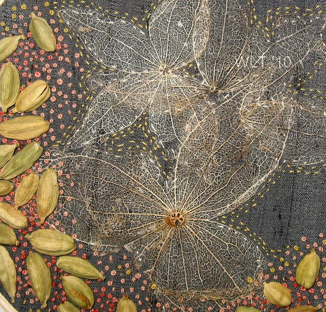 Hand embroidery, mixed media on grey silk. Tomatillo husks and cardamom pods stitched on by Penny Nichols