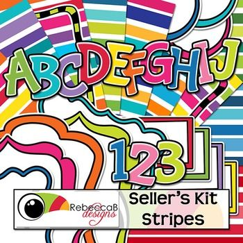 Seller's Kit Stripes is bright and funky with plenty of items for sellers to create awesome product covers.  Place a border or frame over a bold, stripey background, add a label or header and finish it off with a stand-out title using the alphabet letters.
