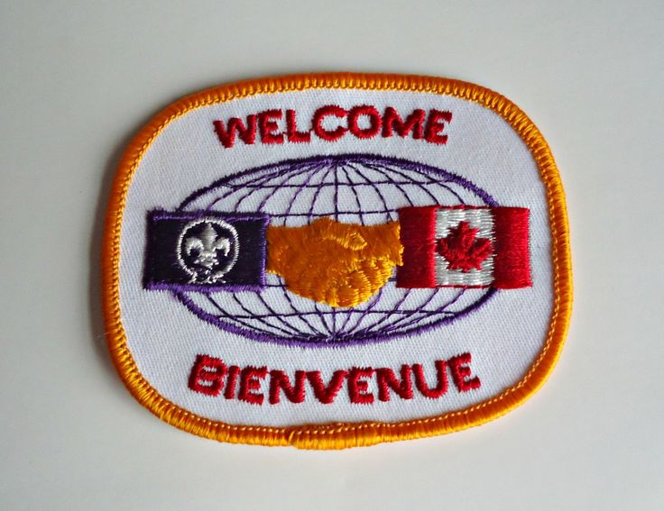 Vintage Boy Scouts Patch Welcome Bienvenue Embroidered Badge 1980's by treasurecoveally on Etsy