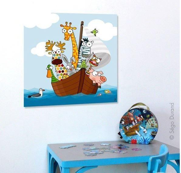 tableau animaux rigolos pour chambre bébé et enfant