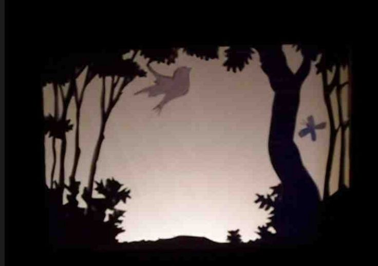 Scenes are simple to illustrate, and can even simply show the silhouette of the backdrop. The characters should be shown in more depth.
