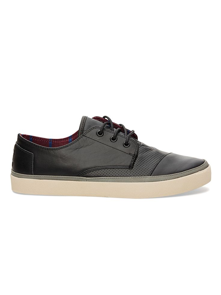We've dressed up the casual Paseo with edge. TOMS men's Black Full Grain Leather Paseos.