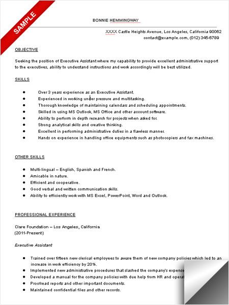 resume objective for executive assistant executive assistant resume sample - Resume Objective For Executive Assistant