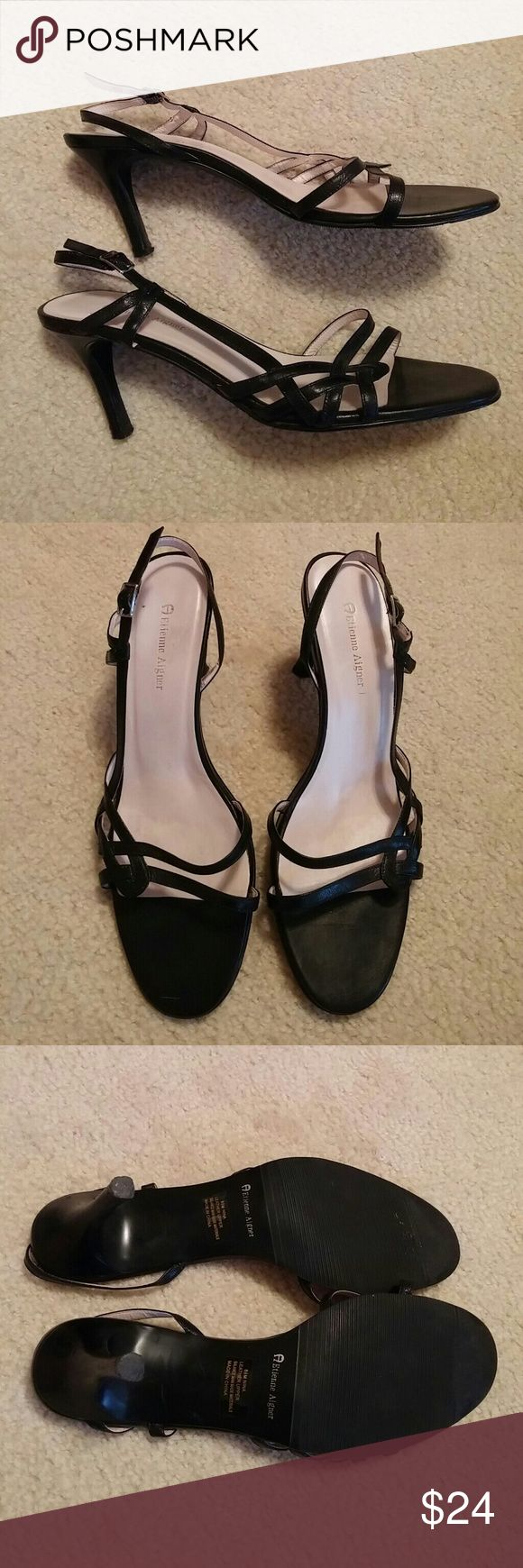 Etienne Aigner Black Strappy Sandals Heels Black Strappy heels with side buckle. Leather. Size 8.5. Heel height 3 inches. In great condition! Like new! Etienne Aigner Shoes Heels