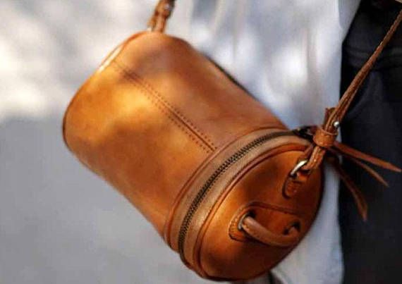 handcrafted italian leather cylinder crossbody round leather