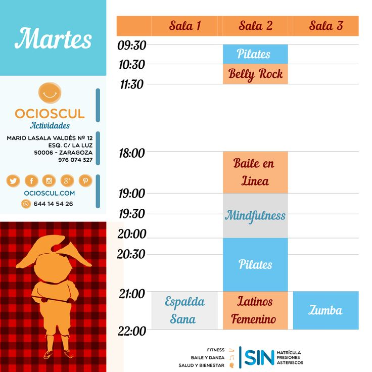 #BuenosDias #Zaragoza Actividades del martes:  #EspaldaSana #BellyRock #Pilates #BaileEnLinea #Mindfulness #Zumba