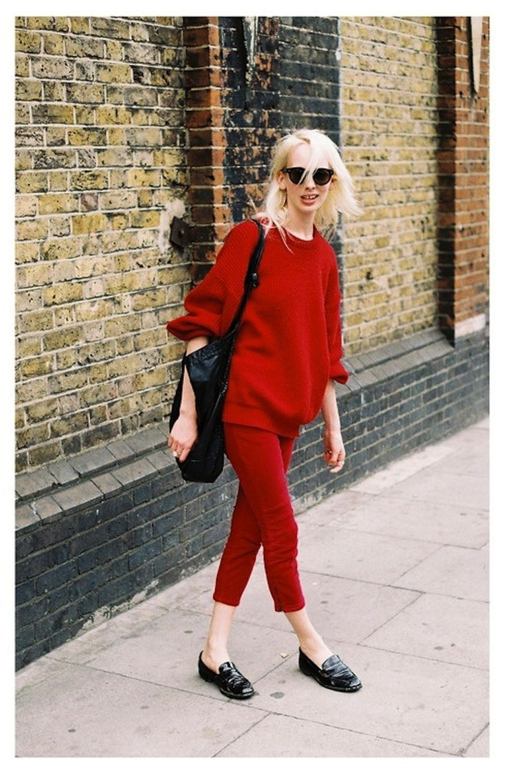 Red Slouchy Sweater and Skinny Pants.