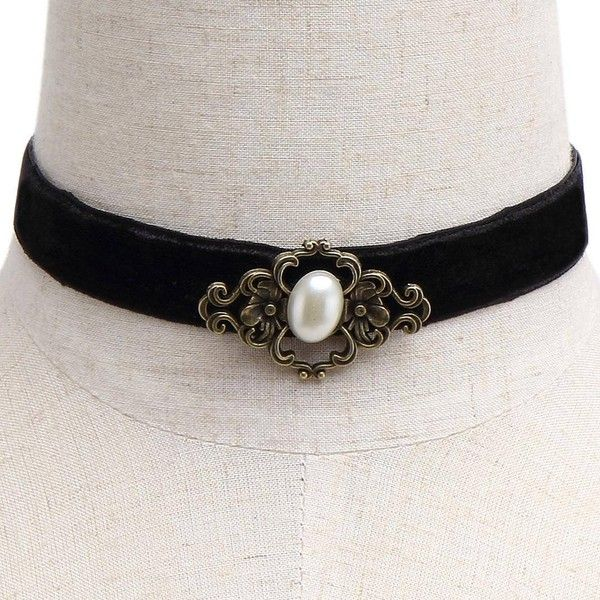Yoins Yoins Vintage Pearl Velvet Ribbon Choker Necklace (€3,82) ❤ liked on Polyvore featuring jewelry, necklaces, black, pearl pendant necklace, black velvet choker, pendants & necklaces, black choker and pearl necklace