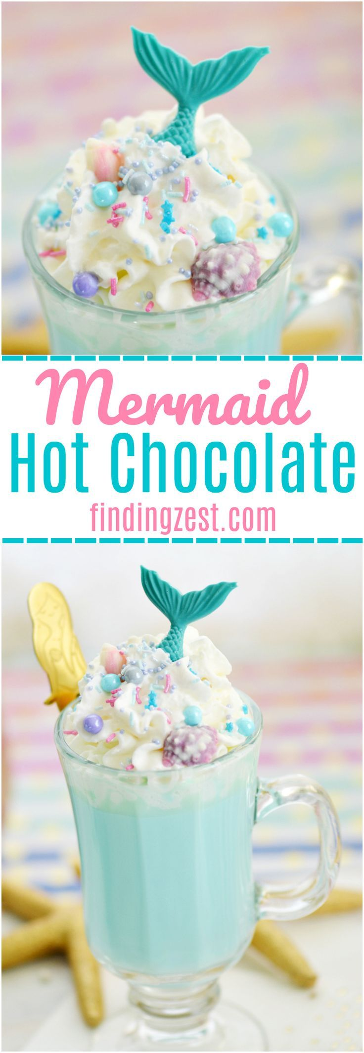 Make a cup of cocoa extraordinary with this Blue Mermaid Hot Chocolate recipe You have to try it! Using homemade white hot chocolate, this delicious blue drink is loaded with fun sprinkles, whipped cream and topped with a chocolate mermaid tail. Mermaid lovers of all ages will go nuts for this hot mermaid drink! Perfect to serve guests at a mermaid birthday party. The mermaid spoons also make great party favors.#mermaid #hotchocolate #mermaidparty #sweeettooth #mermaidlife #drinkrecipes