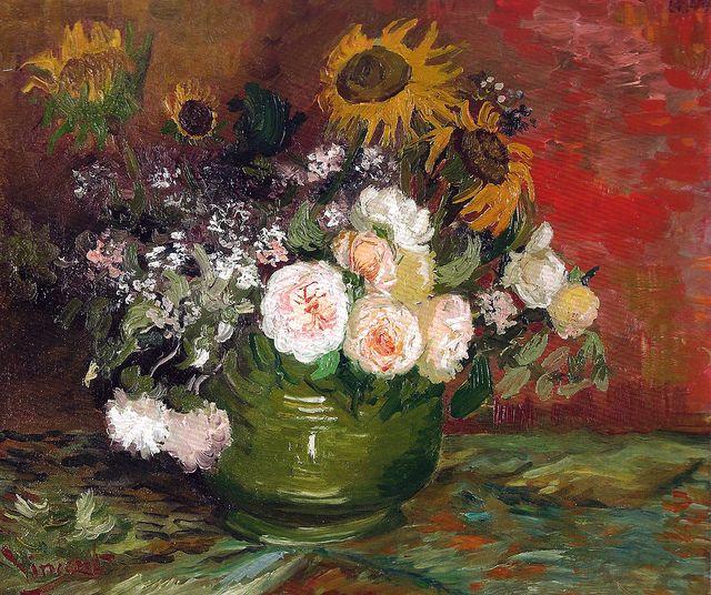 Vincent van Gogh - Roses and Sunflowers, 1886 (Kunsthalle Mannheim Germany) Van Gogh: Up Close at Philadelphia Museum of Art (Postcard)