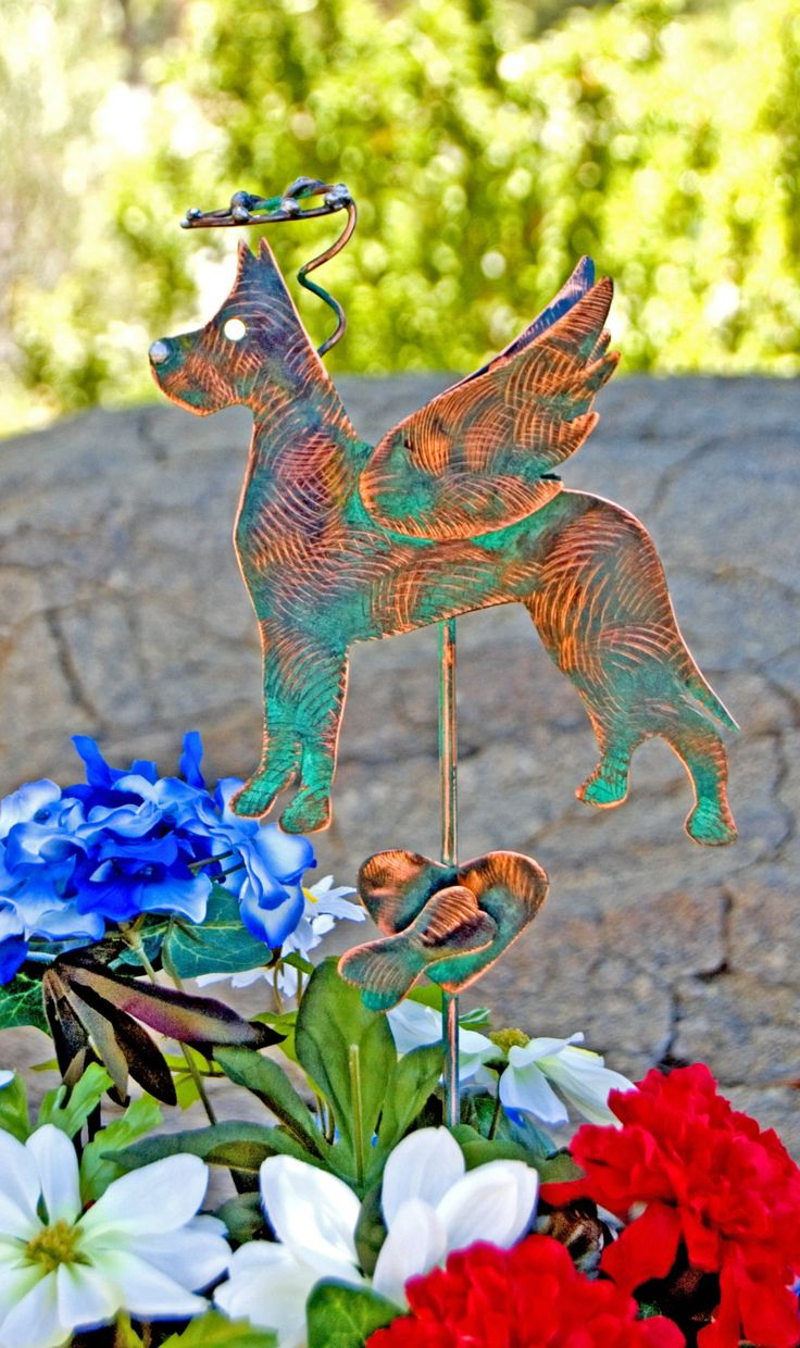 Great Dane Metal Garden Yard Art Pet Memorial Stake, Dog Grave Marker, Memorial Garden Art, Copper Memorial Dog, Outdoor Metal Sculpture