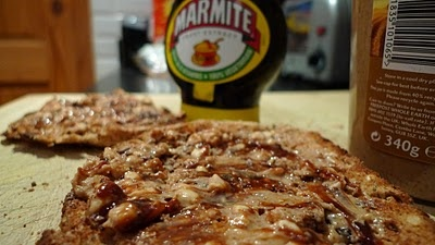 Doesn't look very attractive, but peanut butter and Marmite on toast is delicious!