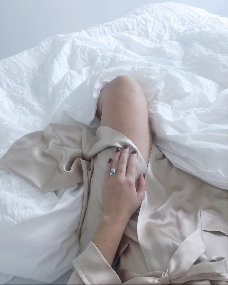 Silk robe and beautiful engagement ring | @asideofvouge on Instagram