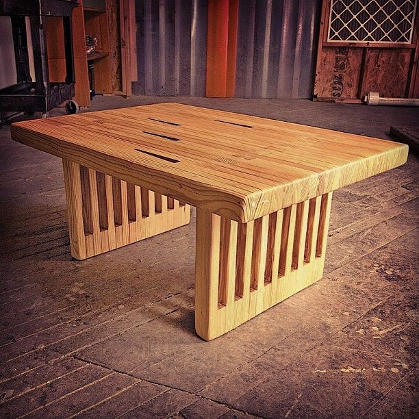 Kingpin Dining Table Made From Vintage Reclaimed Bowling Lanes In New York  City. Photo By