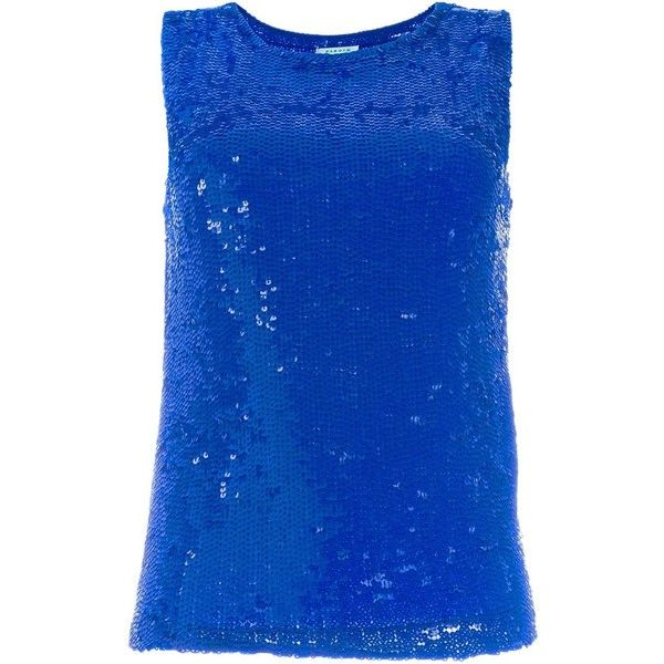 P.A.R.O.S.H. Sequinned Tank (€515) ❤ liked on Polyvore featuring tops, blue, sequin tank, blue top, blue tank top, sequin top and blue tank