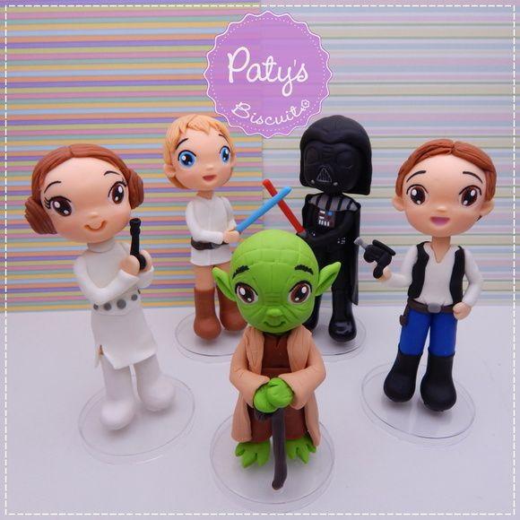 Kit 5 miniaturas Star Wars - 12 a 15cm - Festa Star Wars - Paty's Biscuit