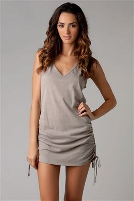 Tank Dress      Recycled heather jersey v-neck tank cover dress with shirred tie sides.    Eco Swim is committed to sustainable fashion. Swimsuit fabrics are made from recycled nylon, polyester and cotton, and every effort is made to reduce the brand's environmental impac