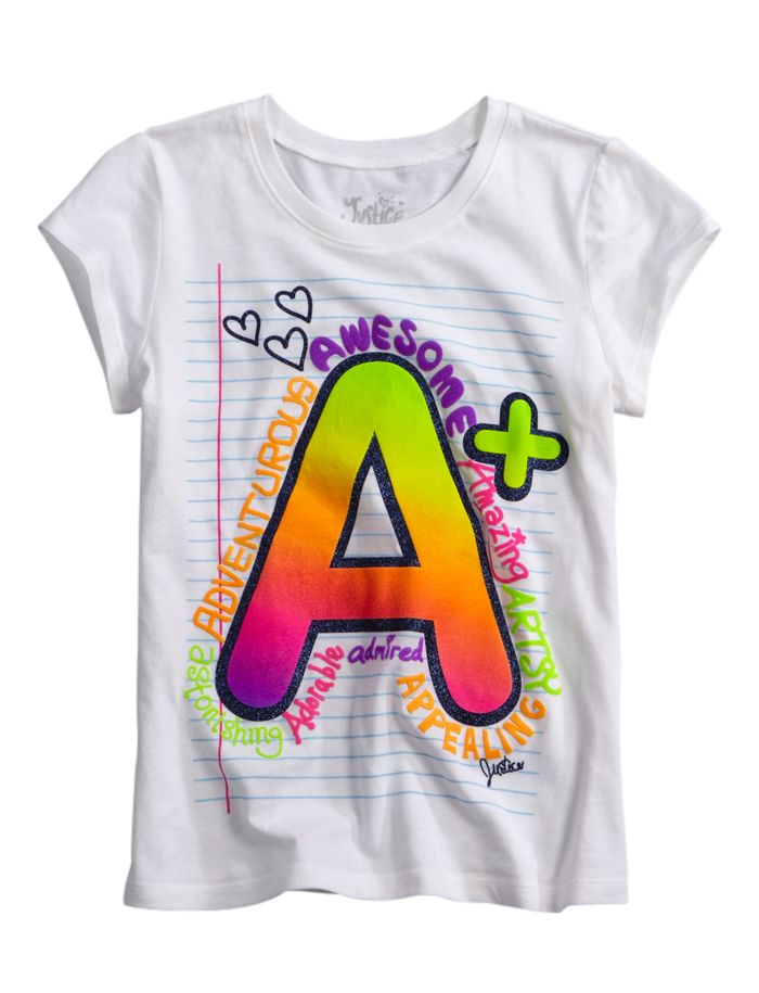 A+ notebook graphic tee from Justice #kids