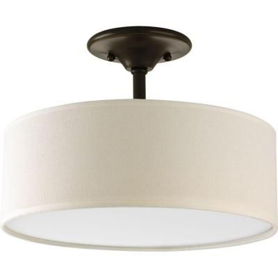 Progress Lighting Inspire Collection Antique Bronze 2-Light Semi-Flushmount-P3939-20 at The Home Depot