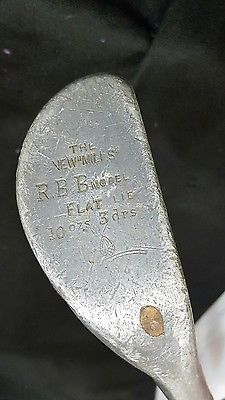 "Antique Golf Club New Mills RB B Flat Lie Putter Hickory Shaft 36"" Leather Grip"