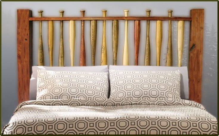 LOVE THIS - Baseball Bat Headboard This colorful baseball bat headboard is a wonderful choice for baseball fans everywhere. Made with authentic hard wood baseball bats and thick timber framing, this headboard is a unique addition to any bedroom. Each bat is hand stained in a variety of colors to stand out.