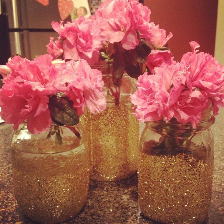 Valentines day decor :) glittered mason jars!