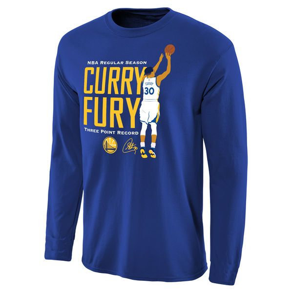 Stephen Curry Golden State Warriors Fury 3-Point Record Long Sleeve T-Shirt - Royal - $29.99
