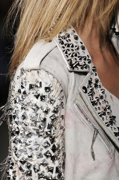 rocknroll: White Leather Jackets, Fashion, Studded Jacket, Spikes, Style, Clothing, White Jackets, Studs Jackets, Rocks